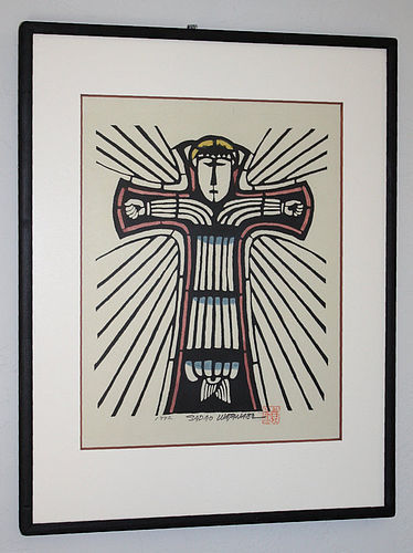 Japanese Kappa-ban Stencil Print Sadao Watanabe Christ on the Cross