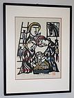 Japanese Sosaku Hanga Kappa-ban Stencil Print Sadao Watanabe Nativity