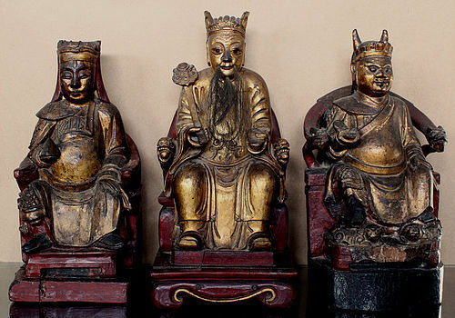 Three Large Chinese Qing Carved Wood Red Gilt Gods of Wealth Li Guizu