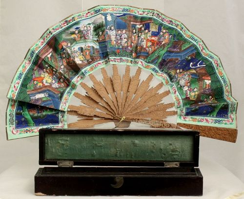 Chinese Qing Export Painted Paper Fan Carved Sandalwood Painting