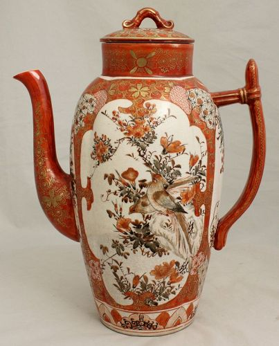 Japanese Meiji Aka-e Kutani Porcelain Lidded Teapot Coffee Pot Wataken