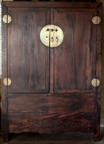 Chinese Qing Hardwood Wardrobe Cabinet Carved Bat Motif Apron