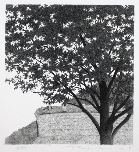 Japanese Limited Edition Etching Tanaka Ryohei Big Tree No. 2