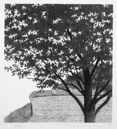 Japanese Limited Edition Etching Tanaka Ryohei Big Tree No. 2