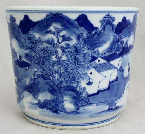 Chinese Qing Blue & White Porcelain Brush Pot Bitong Canton Nanking