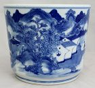 Chinese Qing Blue & White Porcelain Brush Pot Bitong Canton Nanking