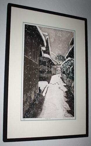 Japanese Limited Edition Aquatint Etching Sarah Brayer Footprints Cat