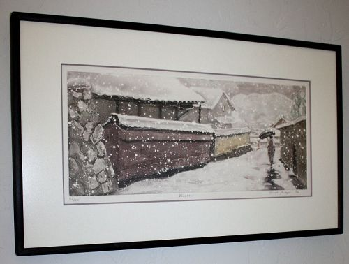 Japanese Limited Edition Aquatint Etching Sarah Brayer Kurodami Snow