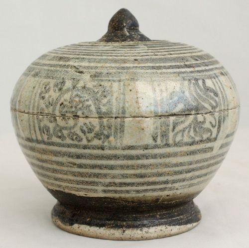 Large Thai Sawankhalok Brown Glaze Lidded Stoneware Ceramic Footed Box