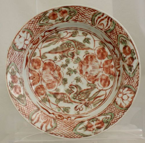 Chinese Ming Zhangzhou Swatow Iron-red and Green Dish Bird Flower