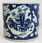 Chinese Qing Guangxu Blue & White Porcelain Brush Pot Scroll Pot