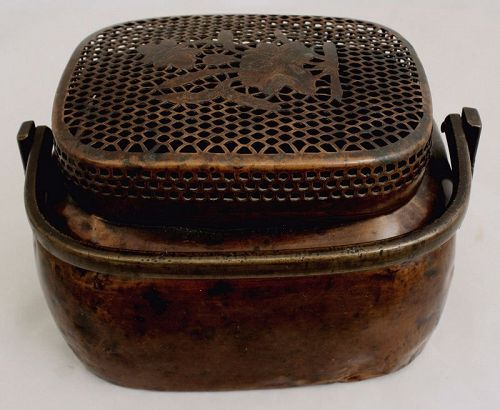 Chinese Qing Copper & Bronze Hand Warmer Shou Lu Pierced Cover