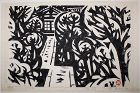 Limited Edition Japanese Woodblock Print Sasajima Kihei Stone Path