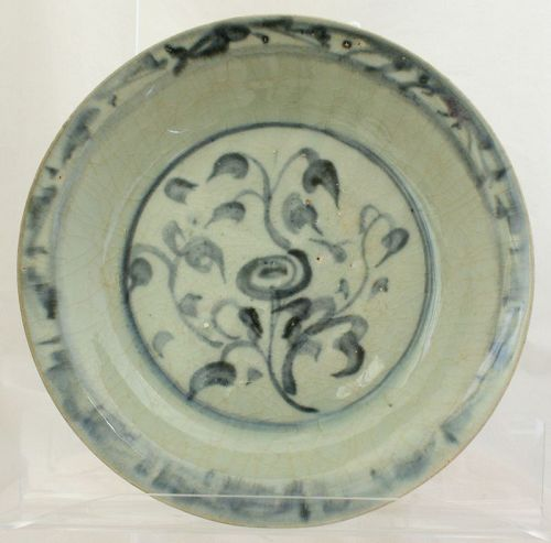 "Chinese Ming Zhangzhou Swatow Porcelain Deep Dish Peony 9"" Diameter"