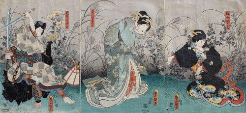 Japanese Edo Woodblock Print Triptych Kunisada Kabuki Actor