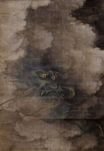 Antique Japanese Silk Scrolled Painting 3-clawed Dragon Among Clouds