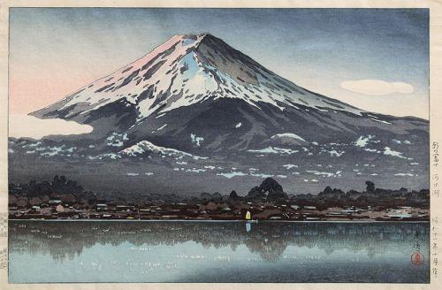 Japanese Shin Hanga Woodblock Print Koitsu Fuji from Lake Kawaguchi