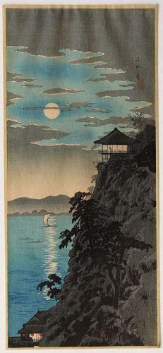 Japanese Woodblock Print Hiroaki Shotei Ishiyama Moon Lake Biwa