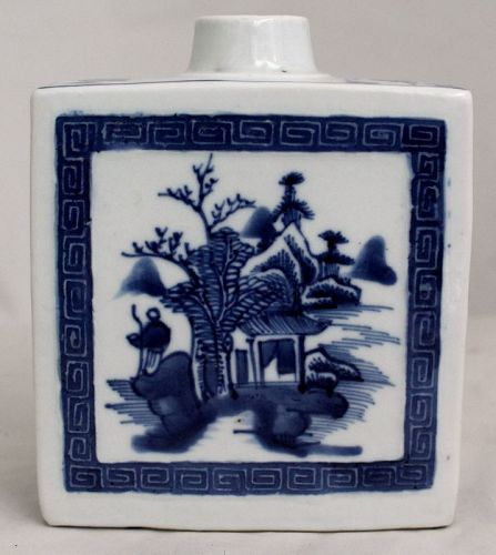Chinese Qing Dynasty Blue & White Porcelain Tea Caddy Canister