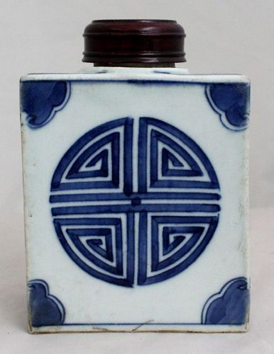 Chinese Qing Dynasty Blue & White Porcelain Tea Caddy Canister Shou