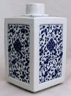 Chinese Qing Dynasty Blue & White Porcelain Tea Caddy Canister Jar