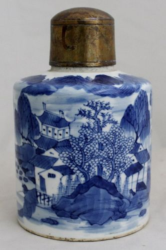 Chinese Qing Blue & White Porcelain Canton Pattern Tea Canister Caddy
