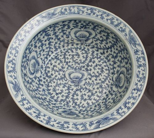 Large Chinese Qing Blue & White Porcelain Sweet Pea Basin Straits
