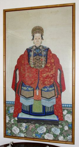 Pair Chinese Qing Ancestor Portrait Painting Mandarin Official Wife