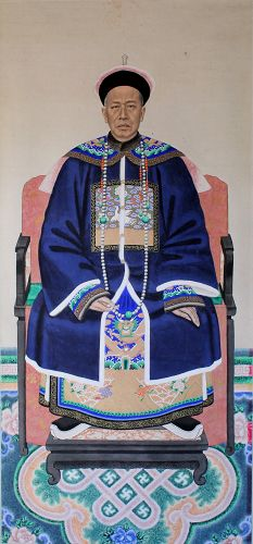 Massive Chinese Qing Ancestor Portrait Painting Mandarin Official