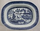 "Chinese Qing 13.5"" Long Blue and White Porcelain Canton Export Platter"