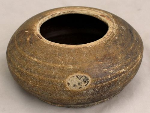 Chinese Yuan Stoneware Ceramic Amber Brown Glazed Water Pot Jar