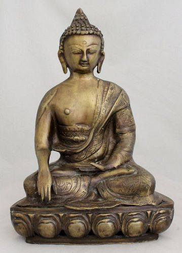 Vintage Sino-Tibetan Nepalese Himalayan Bronze Shakyamuni Buddha