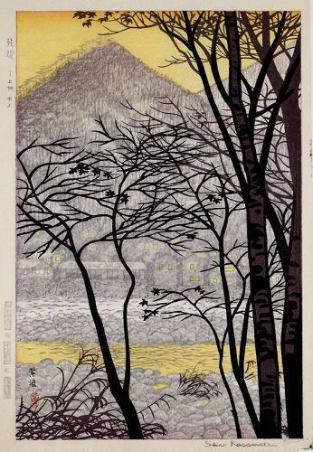 Japanese Woodblock Print Shiro Kasamatsu Light at Minakami Zantou
