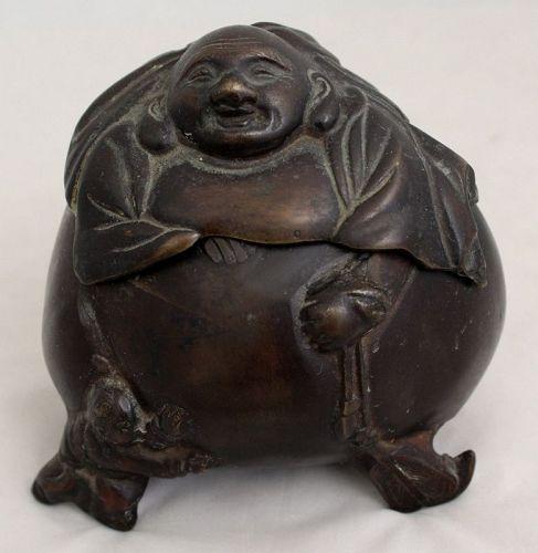 Japanese Meiji Period Bronze Lidded Koro Incense Burner Hotei Budai