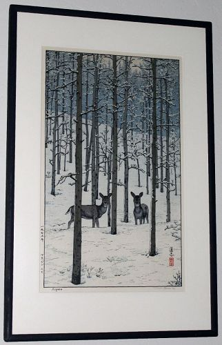 Japanese Shin Hanga Woodblock Print Toshi Yoshida Aspen Night