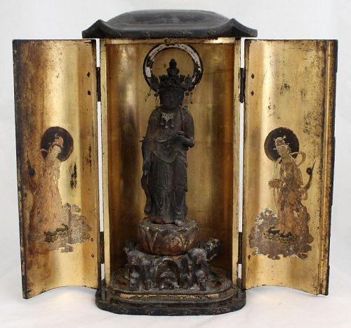 Japanese Edo Buddhist Lacquer Wood Traveling Shrine Zushi Kannon