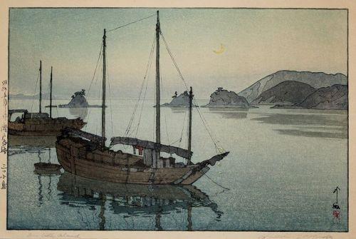 Japanese Woodblock Print Hiroshi Yoshida Three Little Islands