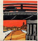 Japanese Woodblock Print Tokuriki Tomikichiro Sanjo Ohashi Bridge