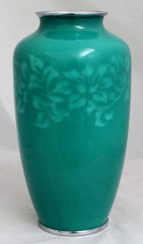 Japanese Showa Musen Shippo Wireless Cloisonne Enamel Vase Moriage