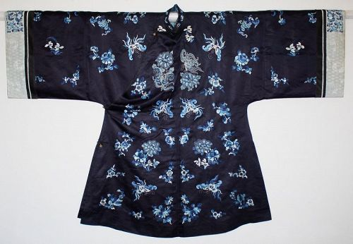 Chinese Qing Silk Embroidered Lady's Han Robe Forbidden Stitch