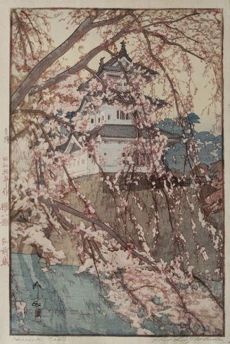 Japanese 1st Ed Jizure Woodblock Print Hiroshi Yoshida Hirosaki Castle