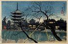 Japanese Woodblock Print Tokuriki Tomikichiro Kofukuji Pagoda Dusk