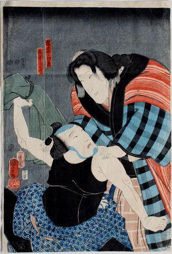 Japanese Edo Woodblock Print Kuniyoshi Kabuki Theater Actors