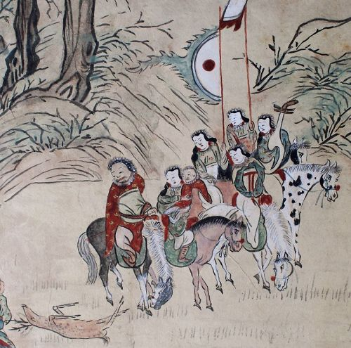 Antique 8-fold Korean Screen Ink & Color on Paper Mongol Tiger Hunt