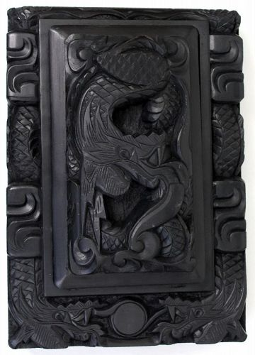Large Antique Korean Joseon Scholar�s Inkstone Dragons Chasing Pearl