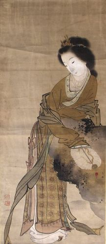 Japanese Edo Period Scrolled Painting on Silk Ohara Donshu Beauty