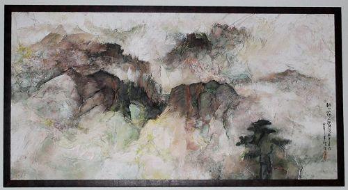 Chinese Acrylic on Crumpled Paper Painting by Zhu Yixiong Ju I-Hsiung