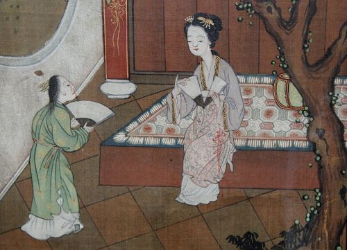 Chinese Qing Figural Painting on Silk from Dream of the Red Chamber