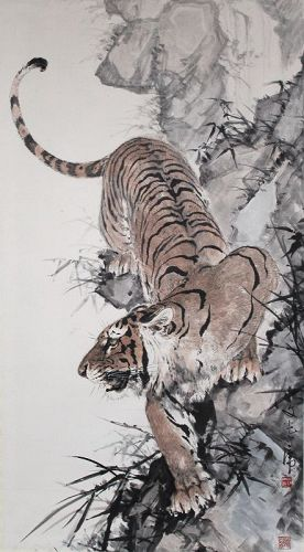 Large Chinese Painting Stalking Tiger by Weng Wenguang (Ong Boon Kong)