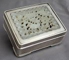 Chinese Marked Chun Yin Pure Silver Box with Qing Jade Inset Plaque